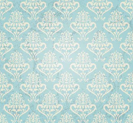 アクアマリン: グランジ スタイルのイラストでビンテージのシームレスな壁紙