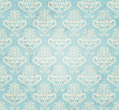 and turquoise: vintage seamless wallpaper in grunge style  illustration