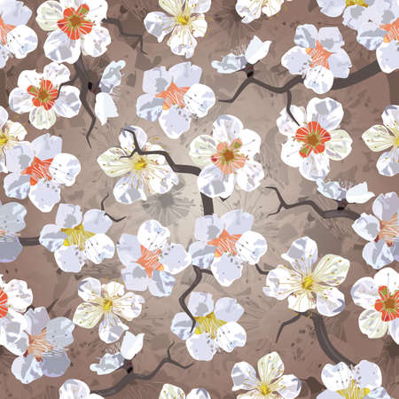 japanese garden: Sakura seamless pattern  EPS 10 vector illustration