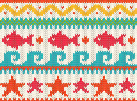 Seamless knitted beach pattern   EPS 10 vector illustration  Vector
