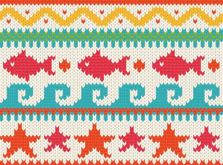 Seamless knitted beach pattern   EPS 10 vector illustration Stock Vector - 12800020