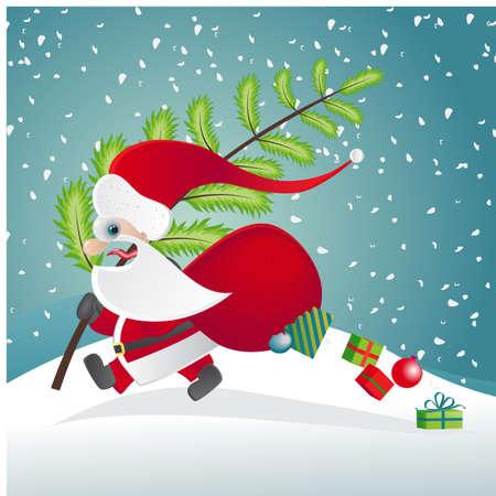 Santa Claus escaping  EPS 10 vector illustration Stock Vector - 12800025