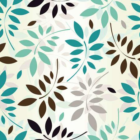アクアマリン: シームレス パターン色の葉 EPS 8 ベクトル イラスト