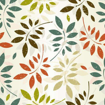 pattern: Grunge naadloze patroon van gekleurde bladeren EPS 8 vector illustratie Stock Illustratie