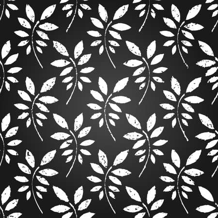 Grunge seamless pattern of black and white leaves  EPS 8 vector illustration Vector
