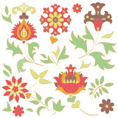 Set of retro flower elements  EPS 8 vector illustration Stock Vector - 12800033