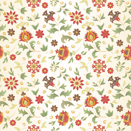 Seamless pattern of colored retro flowers  EPS 8 vector illustration