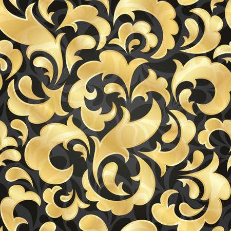 floral carpet: Golden seamless wallpaper  EPS 10 vector illustration