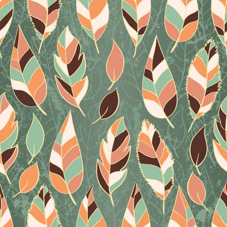 Grunge seamless pattern of colored leaves  Vector