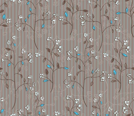 Floral seamless pattern of branches with flowers and turquoise leaves  EPS 10 vector illustration Vector