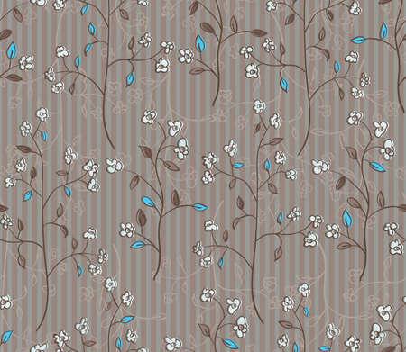Bloemen naadloze patroon van takken met bloemen en turquoise bladeren EPS 10 vector illustratie