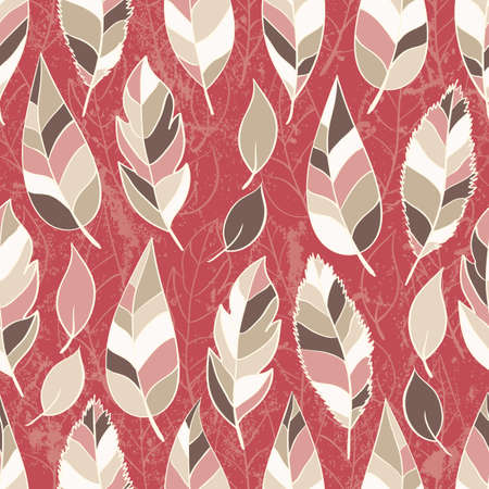 Abstract seamless pattern of colored leaves illustration Vector