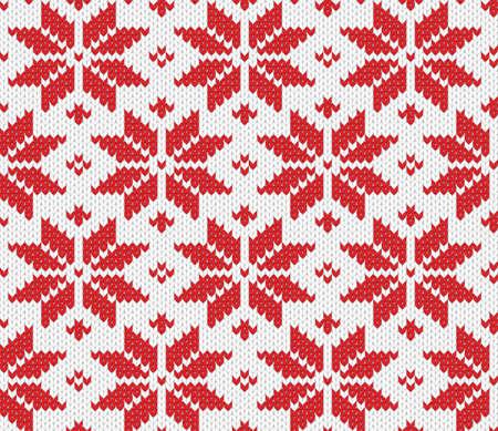 lavoro manuale: Red fiocco di neve seamless sfondo illustrazione maglia
