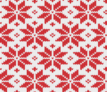 Red snowflake seamless knitted background  illustration  Vector