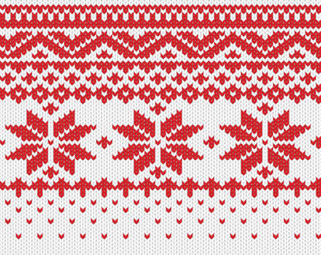 Red snowflake seamless knitted background  EPS 8 vector illustration