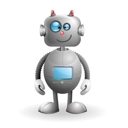 robot caricatura: Robot lindo de la historieta aislado en un fondo blanco ilustraci�n vectorial EPS 10