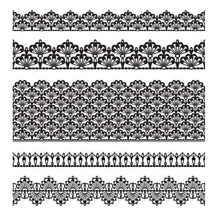 Set of lace trims  Elements can also be used as Illustrator brushes vector  Vector