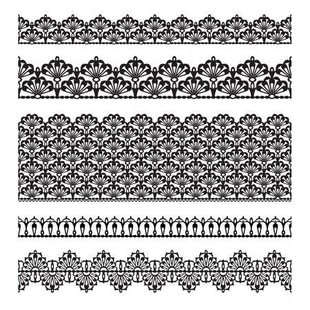 gestickt: Set Spitze trimmt Elemente k�nnen auch als Illustrator B�rsten Vektor verwendet werden Illustration