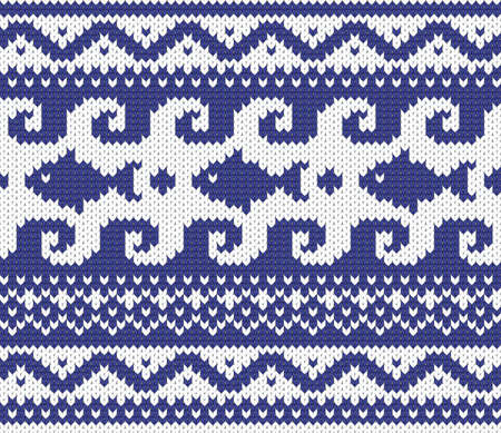Seamless knitted marine pattern vector illustration  Vector