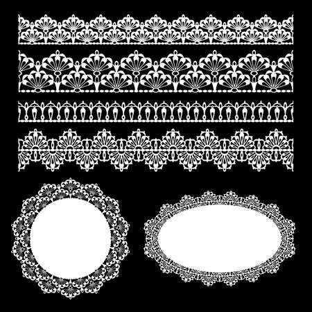 ribetes: Juego de adornos de encaje Los elementos tambi�n pueden ser utilizados como vectores de Illustrator pinceles Vectores