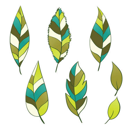 Set of hand-drawn leaves illustration Stock Vector - 13307505
