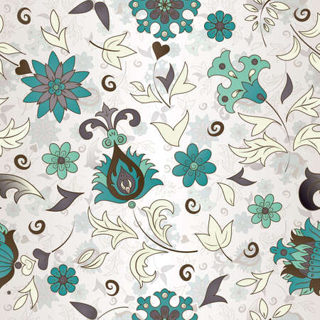 textile image: Seamless pattern of colored retro flowers illustration