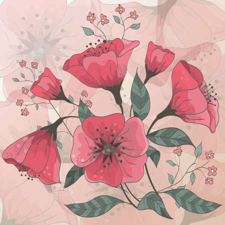 Background with hand drawn flowers  Each element is isolated on a separate layer  EPS 10 vector  Stock Vector - 13334089