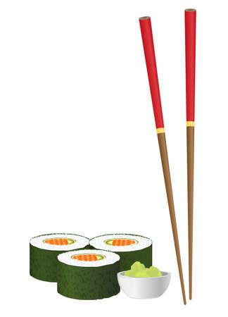 Sushi and chopsticks isolated on white background