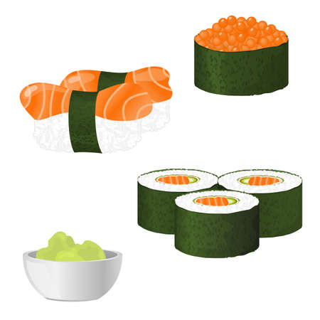 caviar: Vector sushi isolated on white background