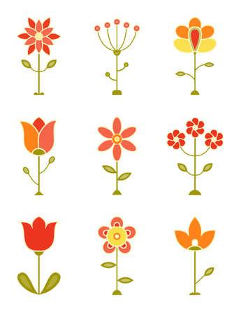 Retro Flower Set  EPS 8 vector illustration  Vector