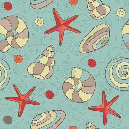 Seamless pattern with shells and starfish  EPS 8 vector illustration  Vector