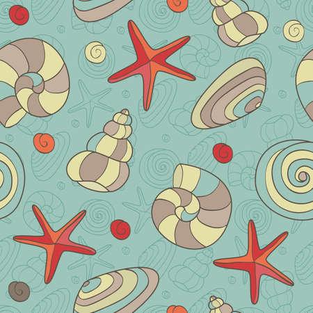 シェルやヒトデの EPS 8 ベクトル イラストとのシームレスなパターン