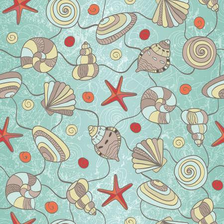 Wyciągnąć rękę seamless pattern z muszli i EPS Starfish 8 ilustracji wektorowych