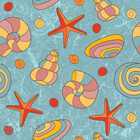 Hand drawn seamless beach pattern  EPS 8 vector illustration  Vector
