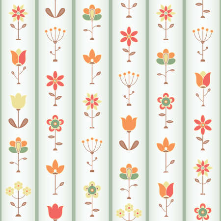 Retro Flower Sseamless pattern illustration  Vector