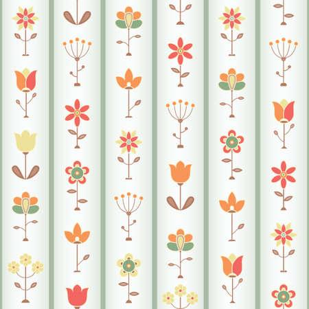 Retro Flower Sseamless pattern illustration  Vector