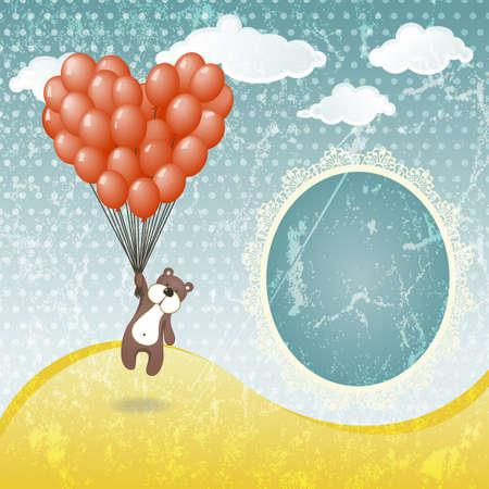 Cute teddy bear with a balloon  illustration in vintage style Vector