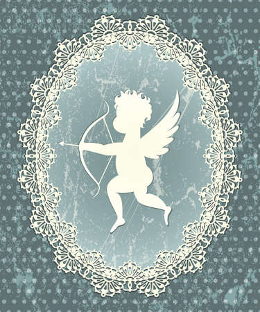 Cupid medallion with lace frame illustration in grunge style  Vector