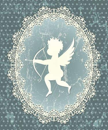 valentin: Cupid medallion with lace frame illustration in grunge style  Illustration