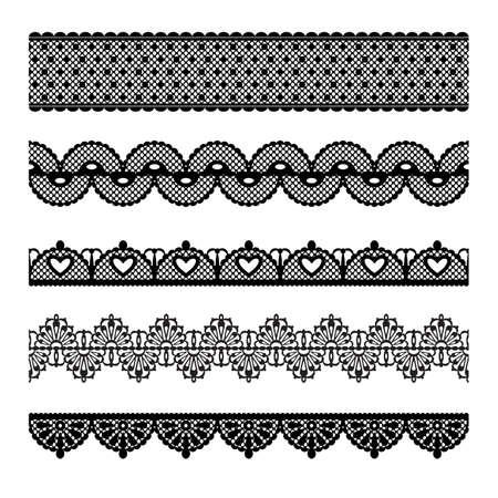 gestickt: Set aus Spitze trimmt Elemente k�nnen auch als Illustrator B�rsten verwendet werden