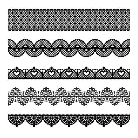 embroidery on fabric: Set of lace trims  Elements can also be used as Illustrator brushes Illustration