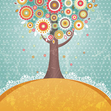 Retro tree with flowers