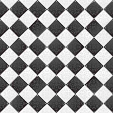 flooring design: Black And White tile with retro victorian ornament   Illustration