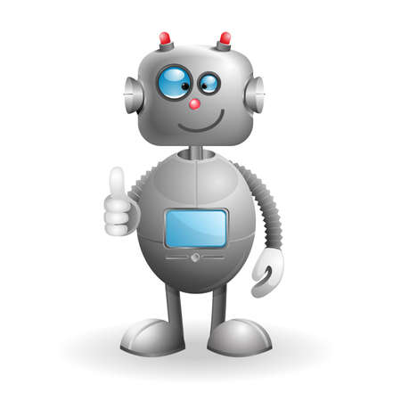 Cute cartoon Robot isolated on a white background  EPS 10 vector illustration