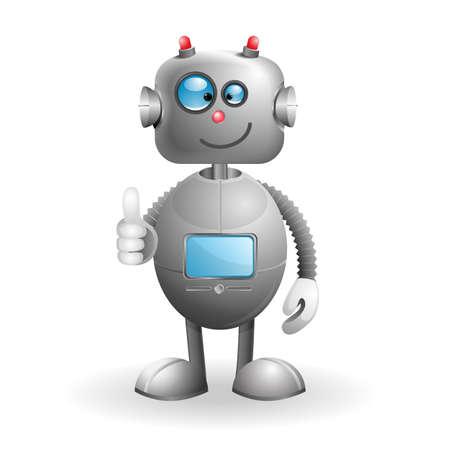 bionico: Robot cartoon cute isolato su uno sfondo bianco EPS 10 illustrazione vettoriale