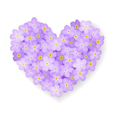hart bloem: Vergeet-mij-nietje bloem hart geïsoleerd op witte achtergrond Stock Illustratie