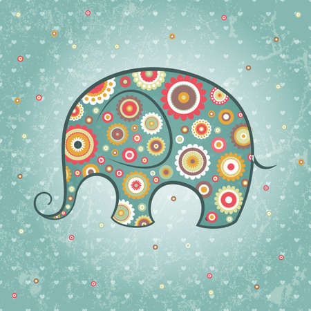 baby blue: Abstract floral elephant on grunge backdrop, Illustration