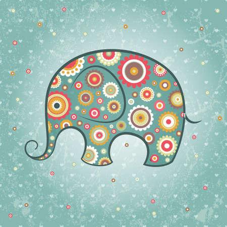 elefante cartoon: Elefante floral abstracto de tel�n de fondo del grunge,