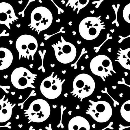 Black and white seamless pattern with skulls and hearts  EPS 8 vector illustration  Stock Vector - 14181781