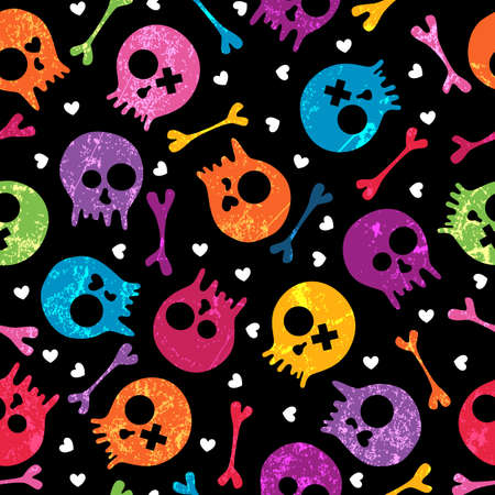 danger skull: Multicolor seamless pattern with skulls and hearts